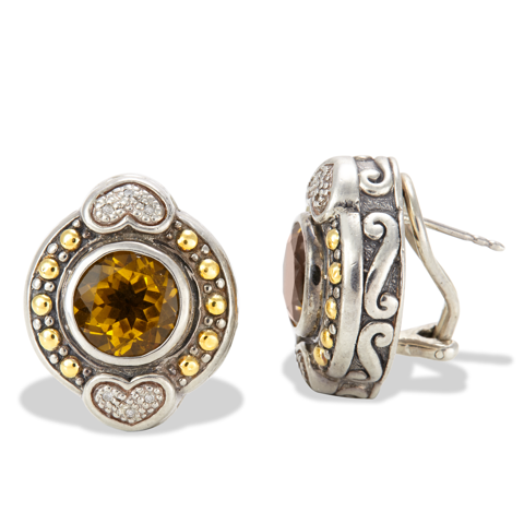 Citrine and Diamond Sterling Silver Earrings with 18K Gold Accents