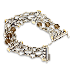 Sterling Silver Smokey Quarts Bracelet with 18K Gold Accents