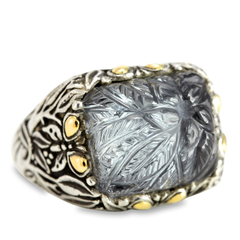 Carved Hematite and White Crystal Ring Set in Sterling Silver & 18K Gold Accents