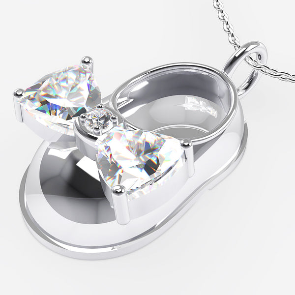 14K White Gold Diamond and White Topaz Baby Shoe Pendant