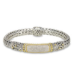 Diamond Sterling Silver Woven Bracelet with 18K Gold Accent