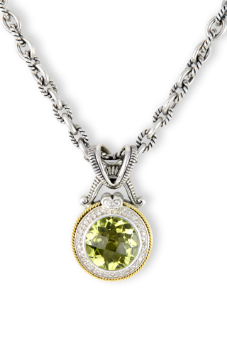 Lemon Quartz and Diamond Sterling Silver Necklace with 18K Gold Accents