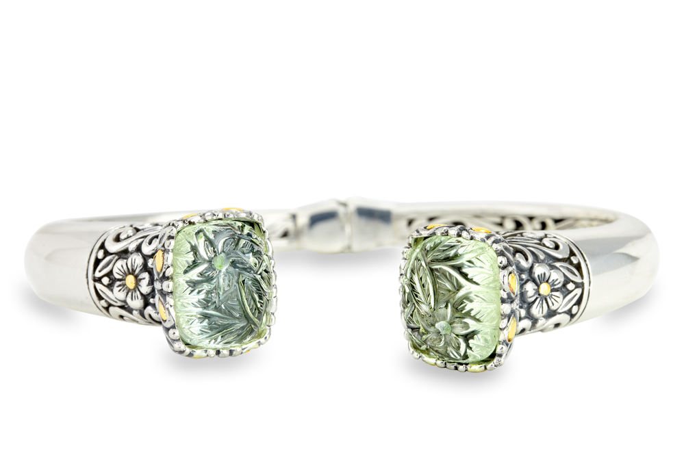 Carved Green Amethyst Sterling Silver Bangle with 18K Gold Accents