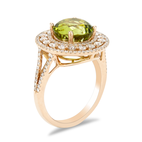 14K Rose Gold Diamond and Green Tourmaline Ring