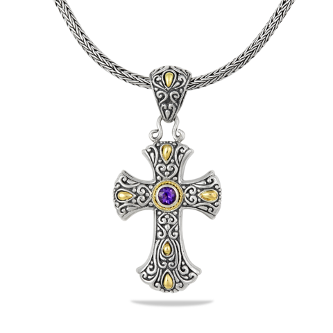 Amethyst Sterling Silver Cross Necklace with 18K Gold Accents