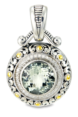 Green Amethyst Sterling Silver Pendant with Diamond and 18K Gold Accents