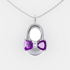 14K White Gold Diamond and Amethyst Baby Shoe Pendant