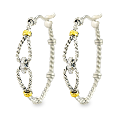 Diamond Earrings Set in Silver & Yellow Gold Accents