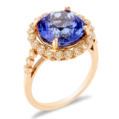 14K Rose Gold Diamond and Tanzanite Ring