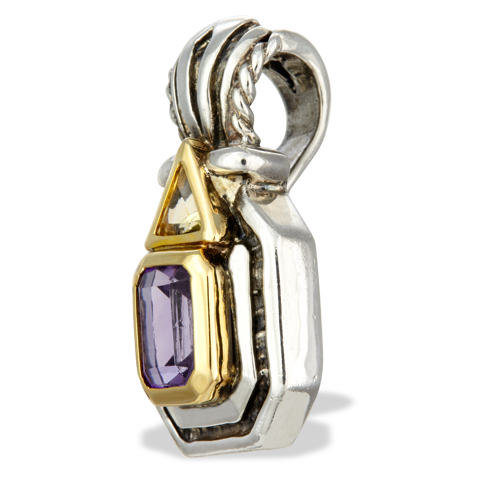 Amethyst and Citrine Sterling Silver Pendant with 14K Gold Accents
