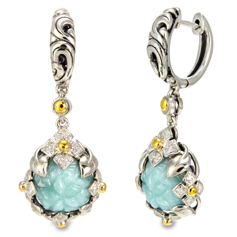 Diamond Accented Carved Larimar Sterling Silver Earrings with 18K Gold Accents