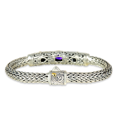 Amethyst and Citrine Sterling Silver Woven Bracelet with 18K Gold Accents