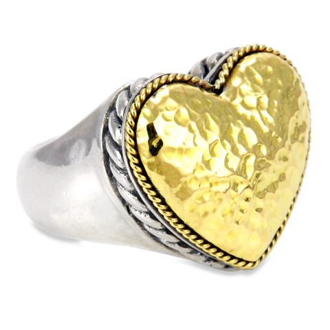 Heart Shaped Sterling Silver Ring with 18K Hammered Gold