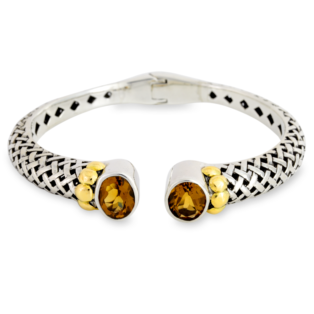 Silver and Yellow Gold Accent Citrine Basketweave Bangle