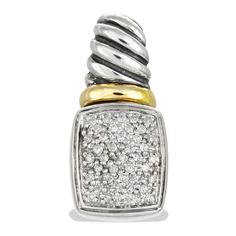 Diamond Sterling Silver Pendant with 14K Gold Accents