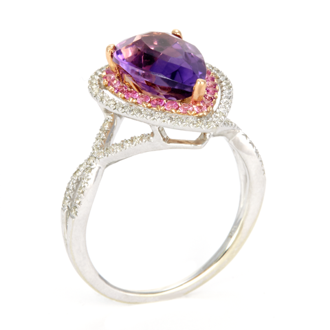 14K Two Tone White and Rose Gold Diamond and Amethyst Ring