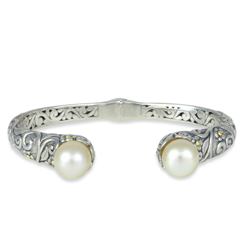 Yellow Pearl Sterling Silver Bangle with 18K Gold Accents