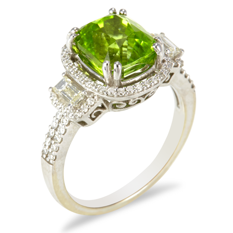 "14K White Gold Diamond and Peridot Ring ""Pamela"""