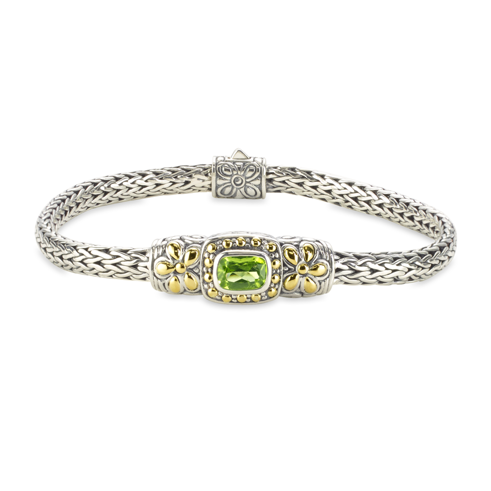 Peridot Sterling Silver Woven Bracelet with 18K Gold Accents