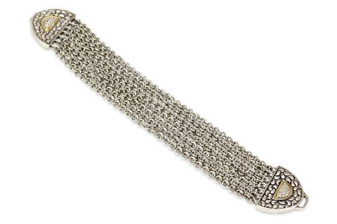 Sterling Silver Chain Bracelet with 18K Gold and Diamond Accents