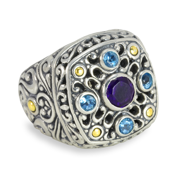 Amethyst and Blue Topaz Sterling Silver Ring with 18K Gold Accents