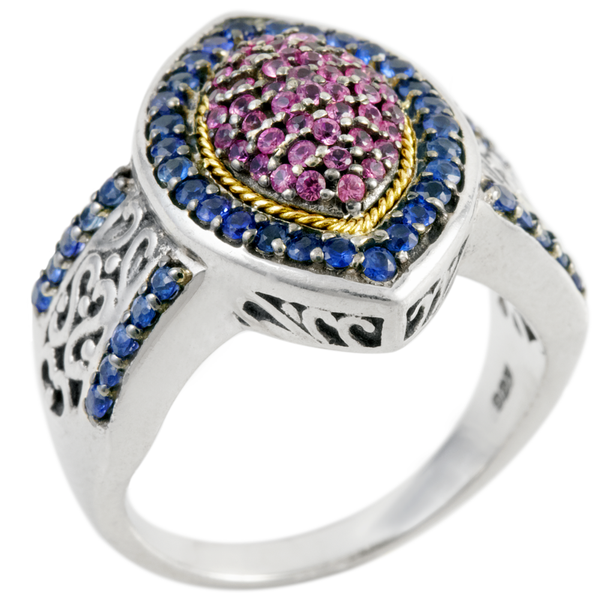 Pink and Blue Sapphire Ring Set in Sterling Silver & 18K Gold Accents