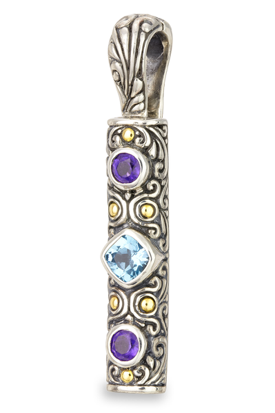 Blue Topaz and Amethyst Sterling Silver Pendant with 18K Gold Accents