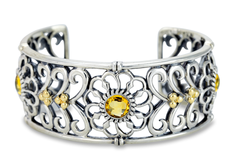 Citrine Cuff Bangle Set in Sterling Silver & 18K Gold Accents