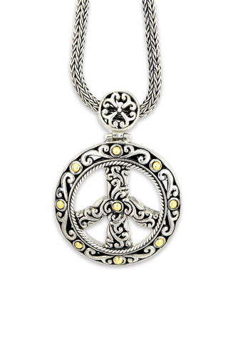 "Sterling Silver ""Peace"" Pendant with 18K Gold Accents"