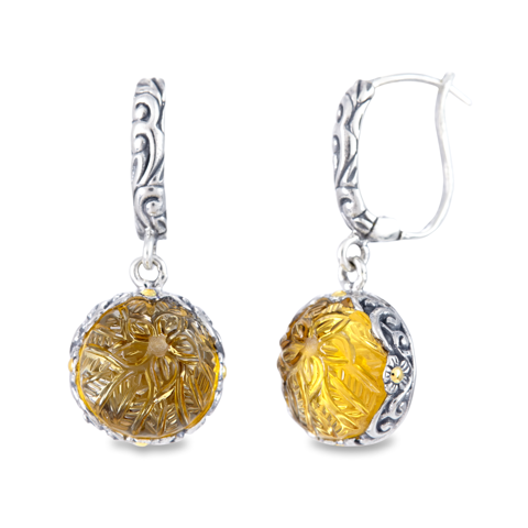 Carved Citrine Sterling Silver Earrings with 18K Gold Accents