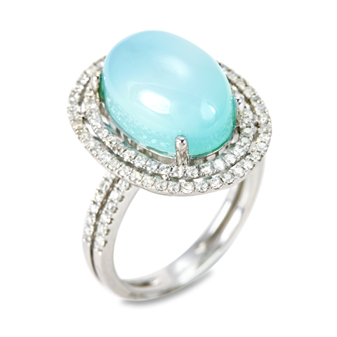 14K White Gold Diamond and Chalcedony Ring