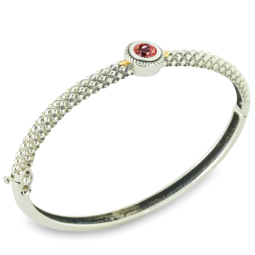 Garnet Sterling Silver Bangle with 18K Gold Accents