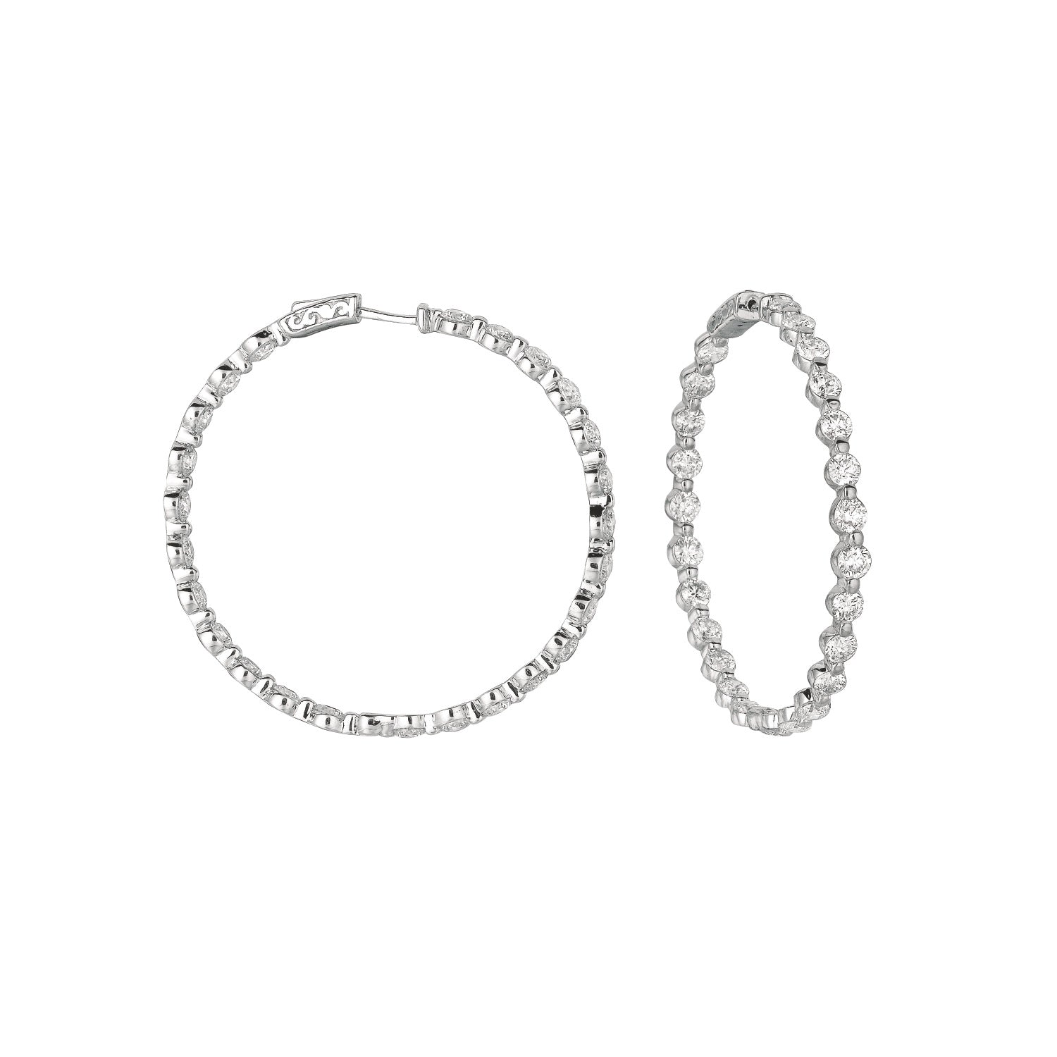Diamond 14K White Gold Hoop Earrings