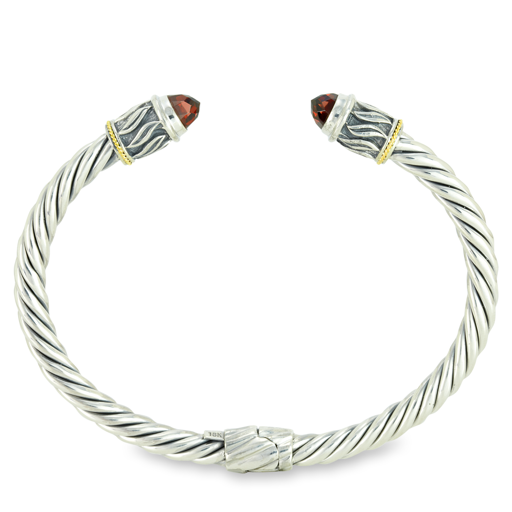 Garnet Sterling Silver Twisted Cable Bangle with 18K Gold Accents