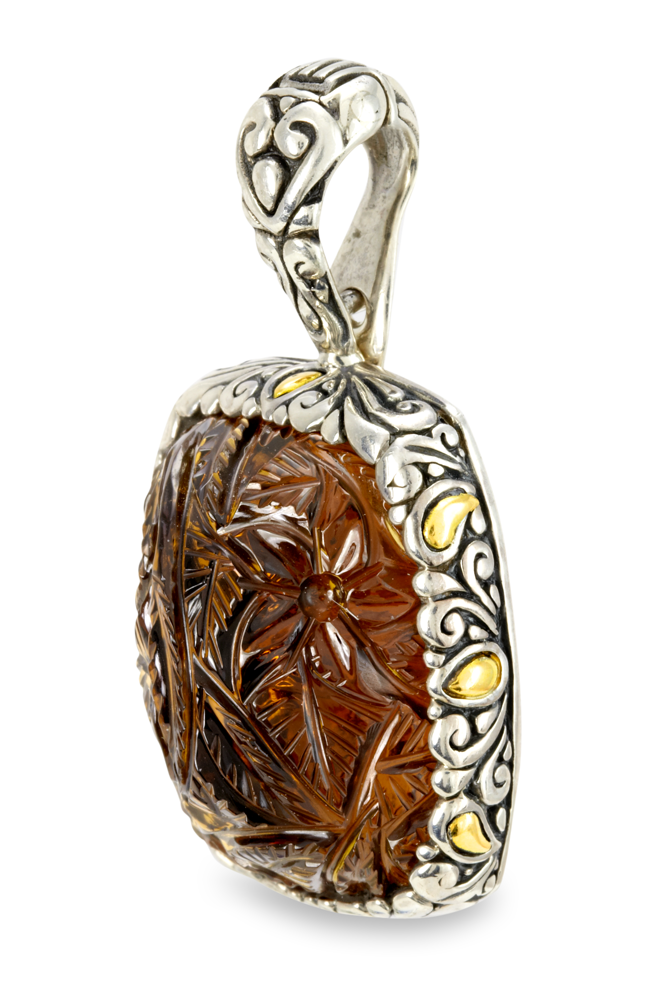 "Carved Cognac Quartz Sterling Silver Pendant with 18K Gold Accents ""Jessa"""