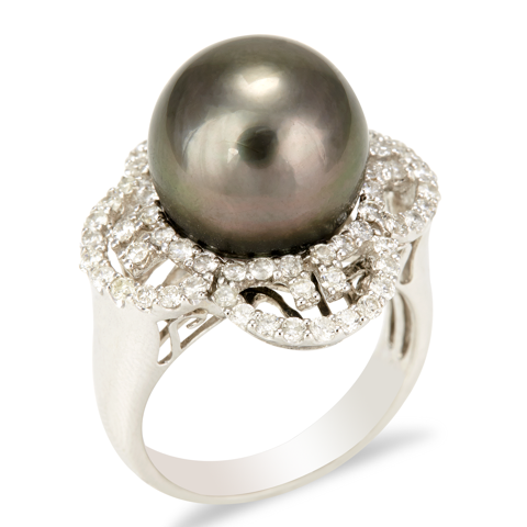 "14K White Gold Diamond and Black Pearl Ring ""Vega"""