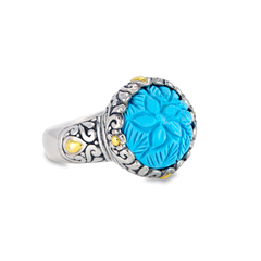 Carved Turquoise Ring Set in Sterling Silver & 18K Gold Accents