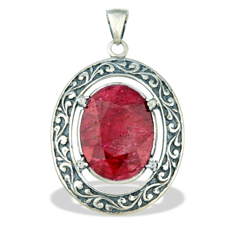 Diamond and Ruby Sterling Silver Pendant