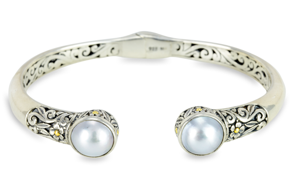 Mabe Pearl Sterling Silver Bangle with 18K Gold Accents
