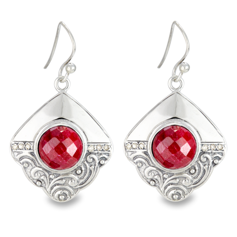 Ruby Earrings Set in Sterling Silver