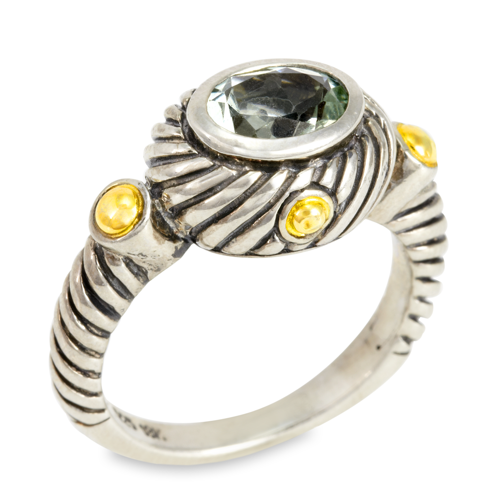 Green Amethyst Sterling Silver Ring with 18K Gold Accents