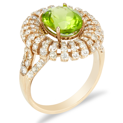 "14K Rose Gold Diamond and Peridot Ring ""Riley"""