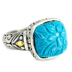 Carved Turquoise Sterling Silver Ring with 18K Gold Accents