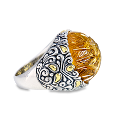 Carved Citrine Gemstone Set in Sterling Silver & 18K Gold Accents Ring