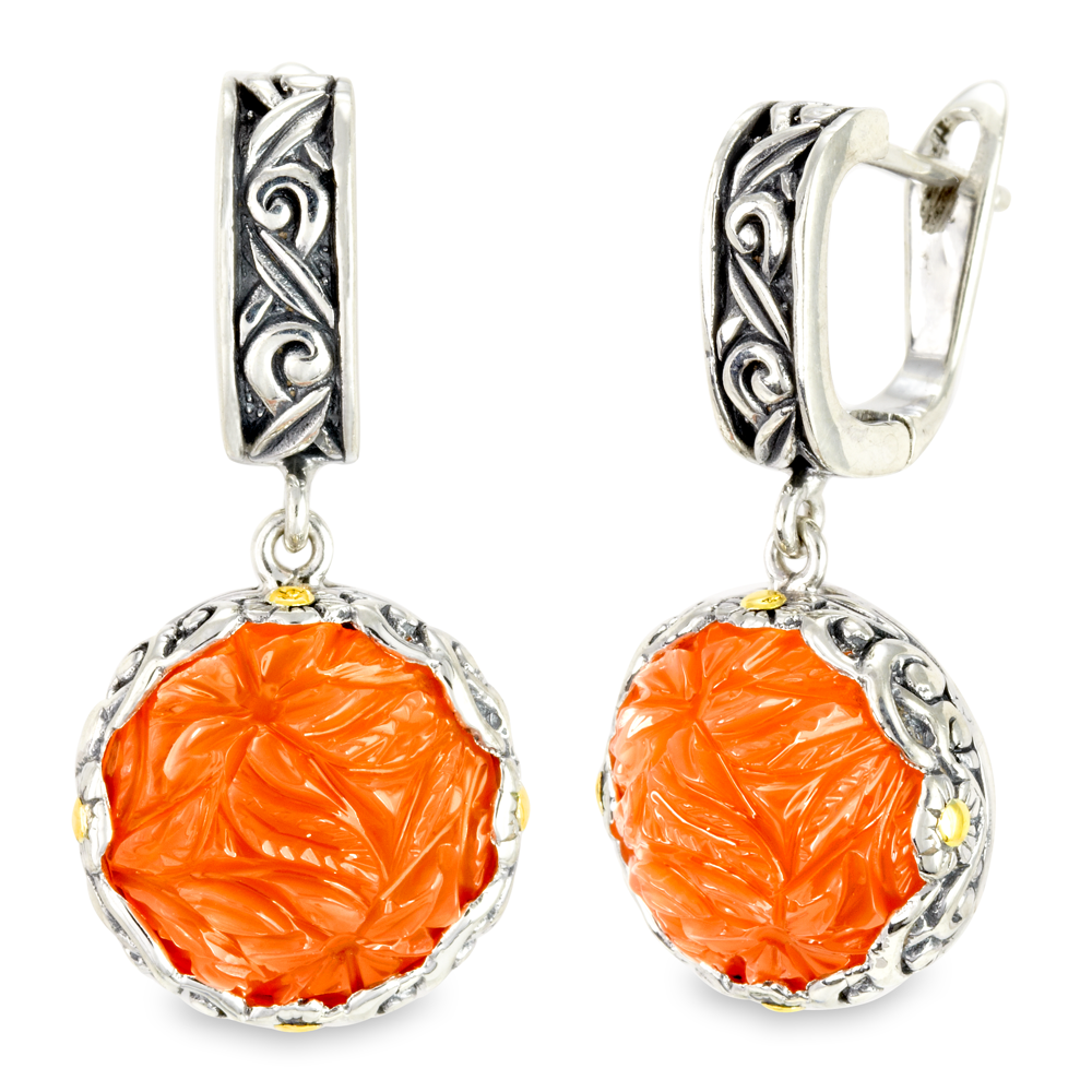 Carved Orange Moonstone Sterling Silver Earrings with 18K Gold Accents