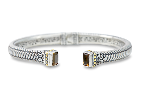 Citrine Sterling Silver Bangle with 18K Gold Accents