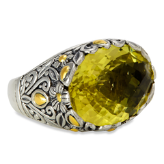 Lemon Quartz Sterling Silver Ring with 18K Gold Accents