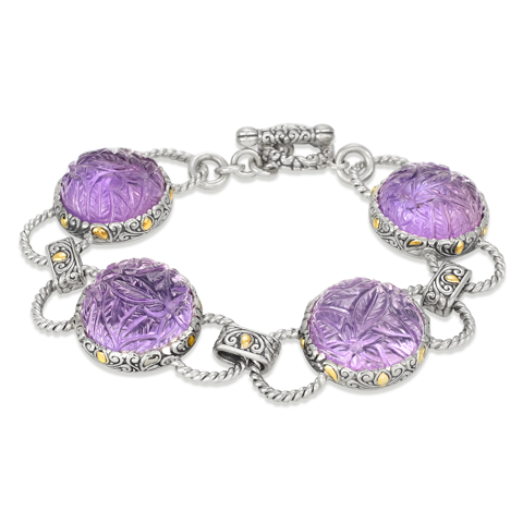 Carved Amethyst Sterling Silver Link Bracelet with 18K Gold Accents