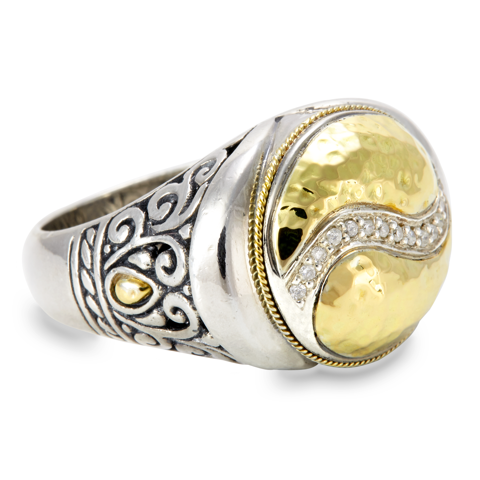 Diamond Sterling Silver Ring with 18K Gold Accents