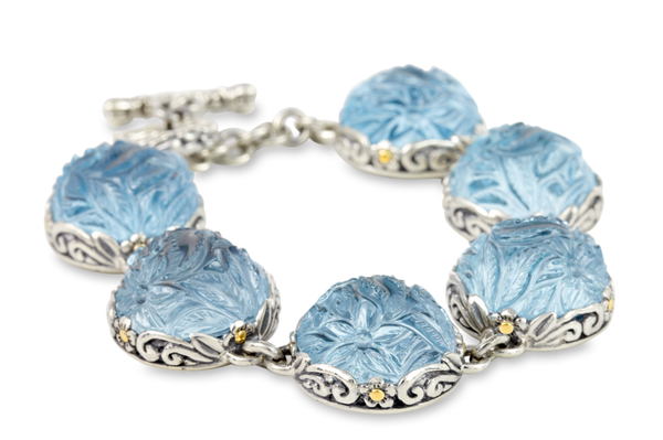 "Carved Blue Topaz Sterling Silver Bracelet with 18K Gold Accents ""Laila"""